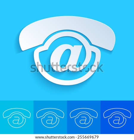 Clean and creative conceptual contact us button for web design delemet - Voicemail icon - stock vector