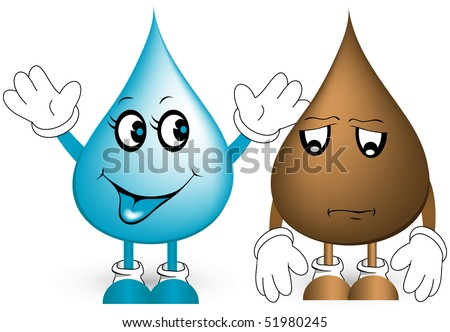 Clean and dirty water drops. - stock vector