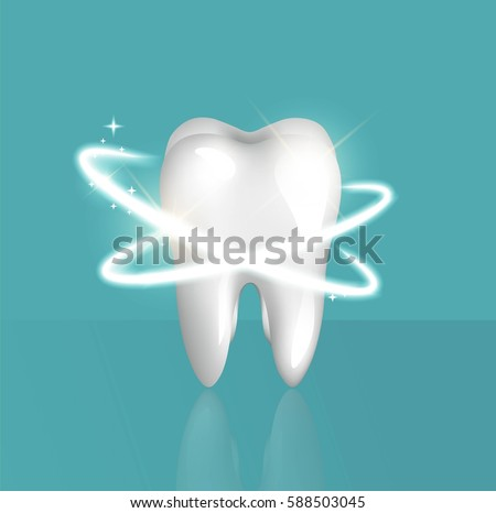Clean and glossy 3d realistic tooth isolated on blue background. Protection  concept. Vector illustration