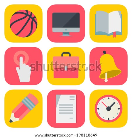 Clean and simple education icons based on iOS7 grid, vector illustration. - stock vector