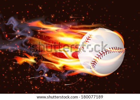 Clean baseball speeding through the air on fire - stock vector