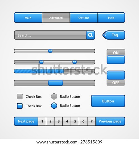 Clean Blue Light User Interface Controls 7. Web Elements. Website, Software UI: Buttons, Switchers, Pagination, Navigation Bar, Menu, Search, Levels, Progress, Scroller, Check Box, Radio Button, Tag - stock vector