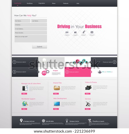 Clean Business Professional Website Template, Eps 10, Vector illustration.  - stock vector