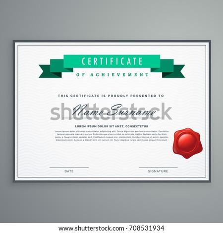 Clean Certificate Design Template Award Diploma Stock Vector Hd