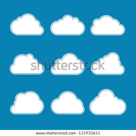 Clean clouds set vector