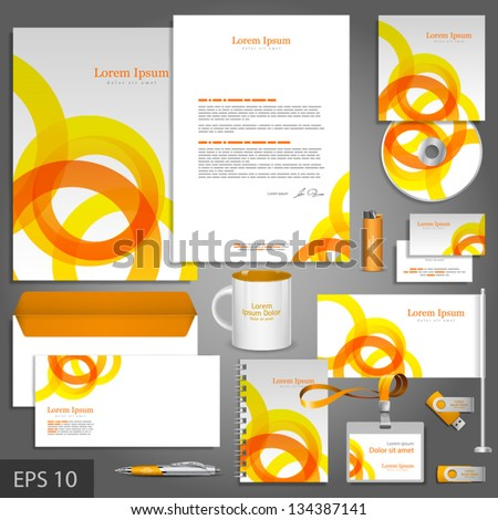 Clean corporate identity template with orange and yellow round elements. Vector company style for brandbook and guideline. EPS 10 - stock vector