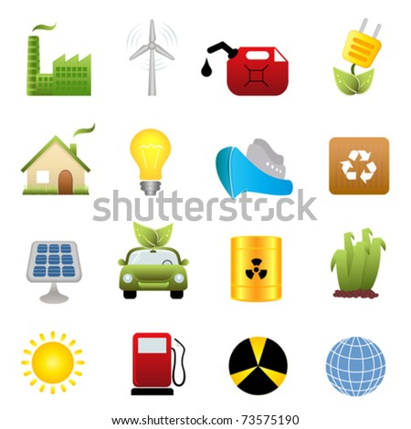 Clean energy and green environment related symbols - stock vector