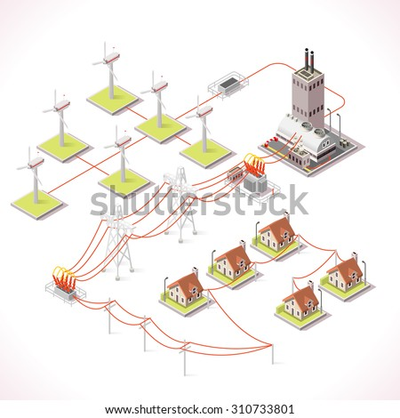 Clean Energy Distribution Chain Infographic Concept. Isometric 3d Electricity Grid Elements Windmil Turbine Power Grid Powerhouse Trasformer Supply the City Buildings Vector JPEG JPG EPS 10 Image AI - stock vector