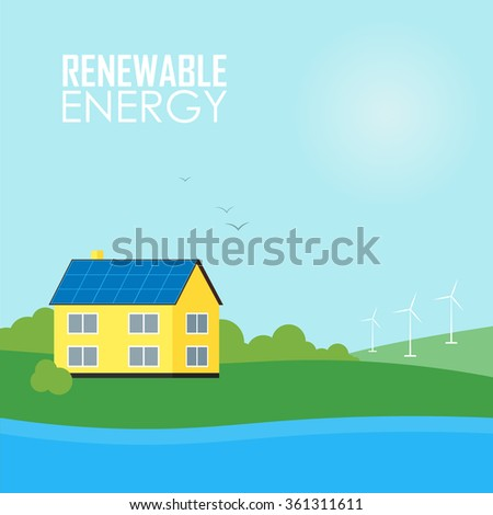 Clean Energy, Ecological Types Of Electricity, Renewable Energy, Green Energy. Alternative Energy Sources. New Types of Electricity. Ecology Concept.Windmill vector illustration. - stock vector