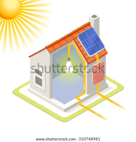 Clean Energy House Solar Panels Infographic Icon Concept Isometric 3d Soften Colors Elements Electricity Power Providing Chart Scheme Illustration Vector JPEG JPG EPS  Image Drawing AI Object Picture - stock vector
