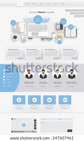 Clean Flat  Website design template - stock vector