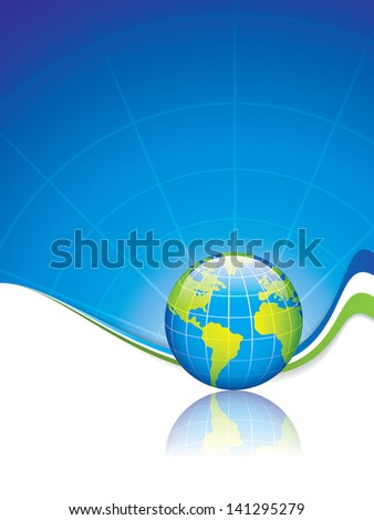 Clean futuristic vector design template with earth globe.Brochure