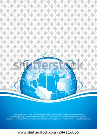 Clean futuristic vector design template with earth globe.Brochure vector - stock vector