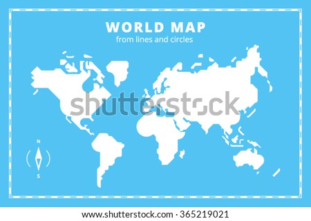 Clean geometric world map - stock vector
