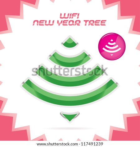 Clean Glossy Merry Christmas, New Year wifi Icon, Symbol, Button, Logo for Web, Customers - stock vector