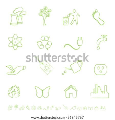Clean green energy and environment icons - stock vector