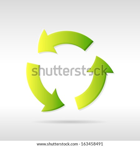 Clean green vector ecology recycling arrows icon