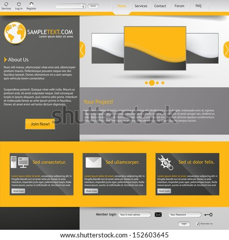 Clean Grey and Yellow website design - stock vector