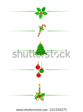 Clean Holly leaves and berries, candy cane christmas tree and x mas candle holiday border /divider - stock vector