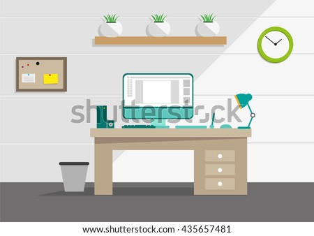 Clean Interior Office Concept Computer Household Stock Vector ...