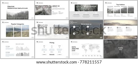clean minimal presentation templates simple elements stock vector, Presentation templates