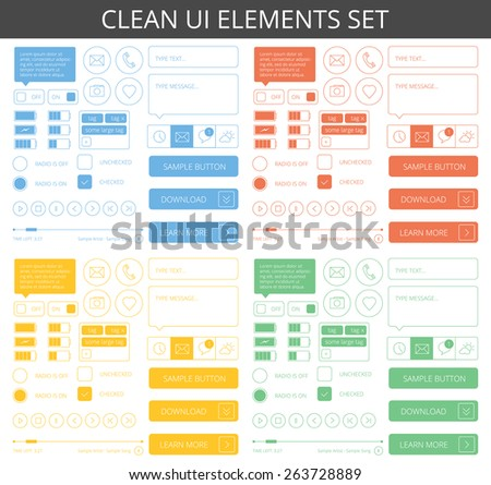 Clean minimalistic elements for web and mobile. 4 different color schemes - blue, red, green and yellow. Isolated on white background. - stock vector