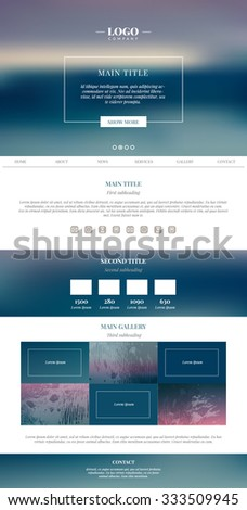 Clean minimalistic landing page. Web design. Vector illustration. EPS 10