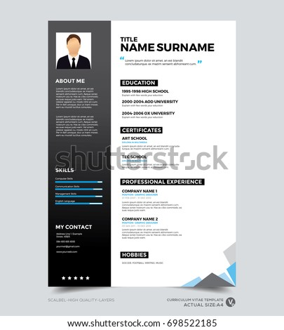 Clean Modern Design Template Of Resume, CV Template, Vector Graphic Layout  Layout For Resume