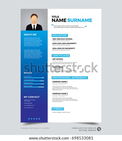 Clean Modern Design Template Of Resume, CV Template, Vector Graphic Layout,  Blue  Resume Layout Design