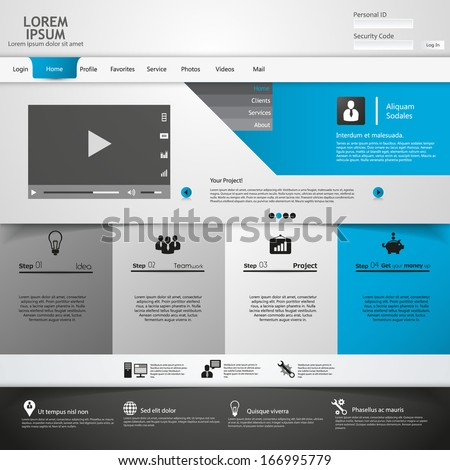 Clean Modern Vector Website Design Template  - stock vector