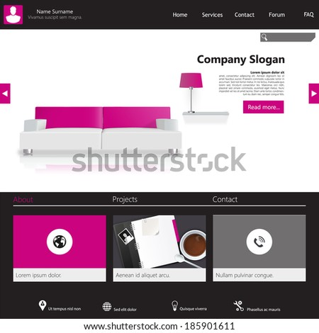 Clean Modern Website template in editable vector format  - stock vector