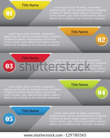 clean numbered banners for sample text.Vector design template. - stock vector