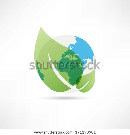 clean planet earth icon - stock vector