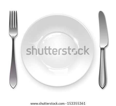 Clean plate with knife and fork on white background. - stock vector