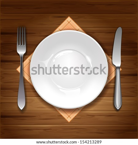 Clean plate with knife, fork and napkin on wooden background. - stock vector