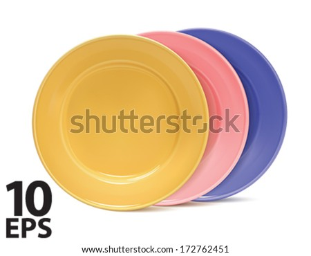 Clean plates, isolated. Vector illustration - stock vector