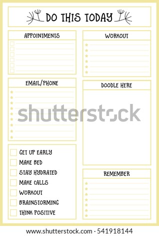 Clean Style Daily Planner Vector Template Stock Vector 541918144 ...