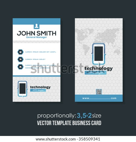 Clean Style Technology Theme Vertical Business Cards Design  - stock vector