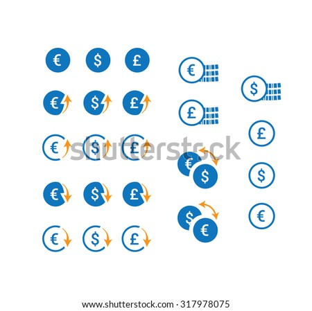 Clean vector currency icons set. - stock vector