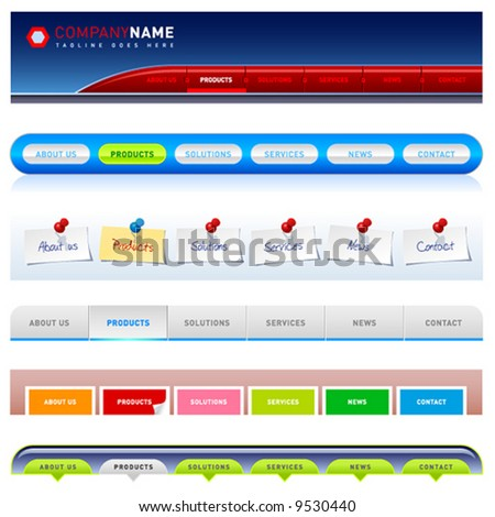Clean vector, easy to edit web navigation templates 2 - stock vector