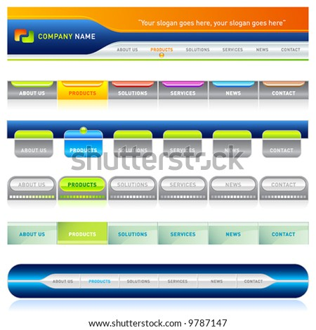 Clean vector, easy to edit web navigation templates 3