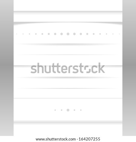 Clean vector set of page shadows and dividers - stock vector