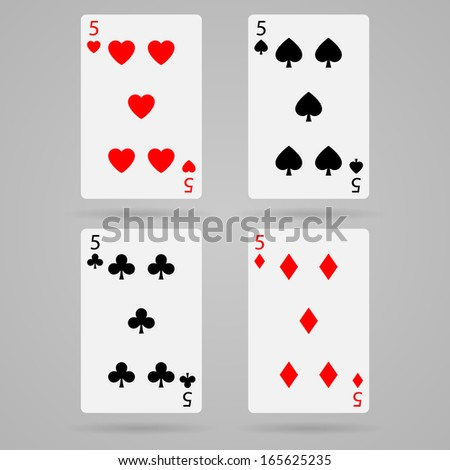 Clean vector set of playing cards, five