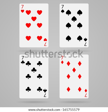 Clean vector set of playing cards, seven