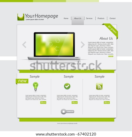 Clean Website Design with Ecological Theme - stock vector