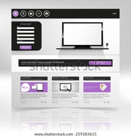 Clean Website template design in editable vector format - stock vector
