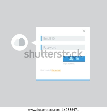 Clean white flat login form for web and mobile applications - stock vector