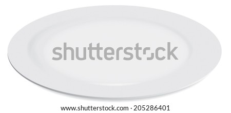 Clean white plate vector isolated