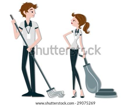 Cleaners - Vector - stock vector