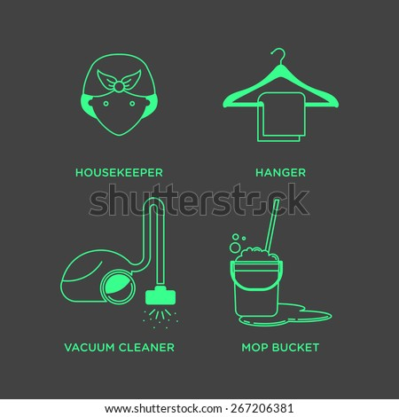 Cleaning and housekeeping icon set in minimal style, line symbols in negative color - stock vector